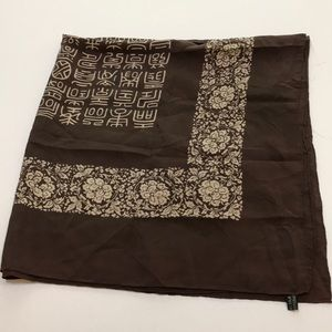 Pure silk large square scarf wrap - brown & cream